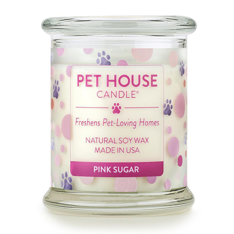One Fur All Pet House Candle Jar Pink Sugar 8.5 oz. I016963