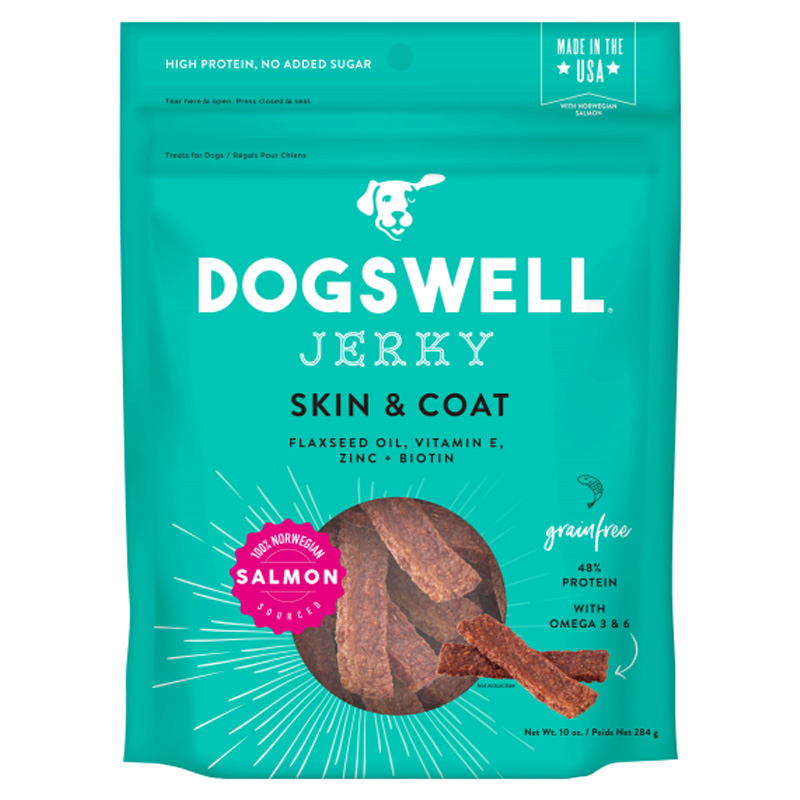 Dogswell Skin & Coat Salmon Jerky Dog Treats 10 oz I016969