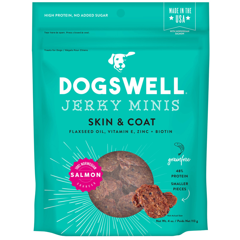 Dogswell Skin 7 Coat Salmon Mini Jerky Dog Treats 4 oz  I016973