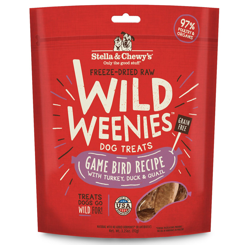 Stella & Chewy's Freeze Dried Raw Wild Weenies Game Bird Recipe with Turkey, Duck & Quail Dog Treats 3.25 oz  I017040