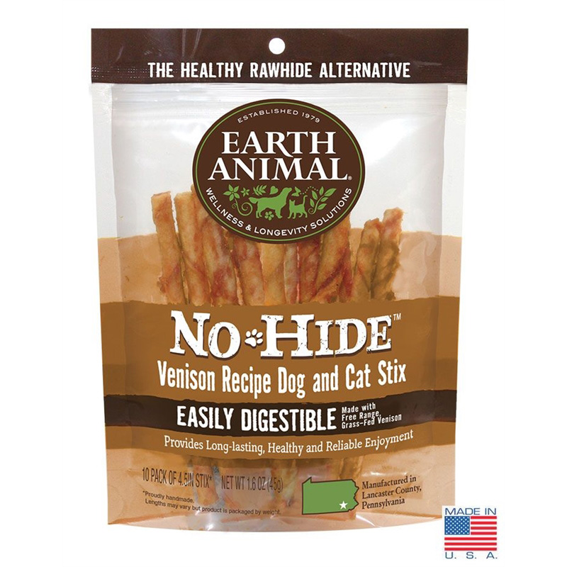 Earth Animal No-Hide Venison Stix for Dogs and Cats 10 pk I017146