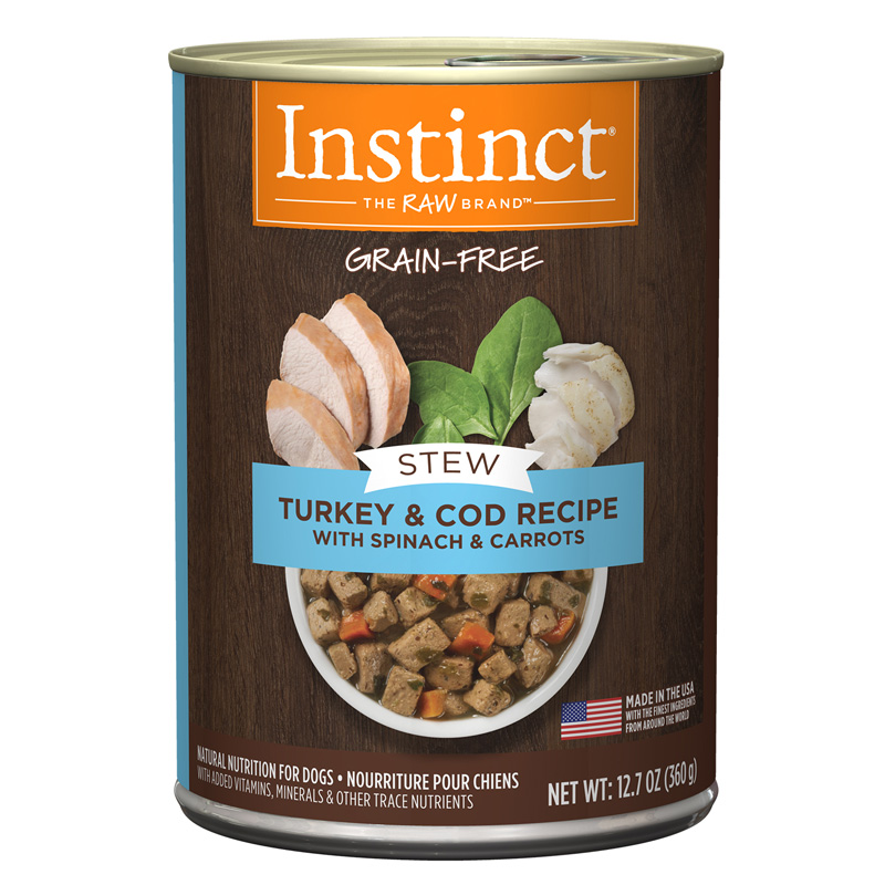 Instinct Stews Turkey & Cod Recipe with Spinach and Carrots Dog Food 1.7 oz  I017308