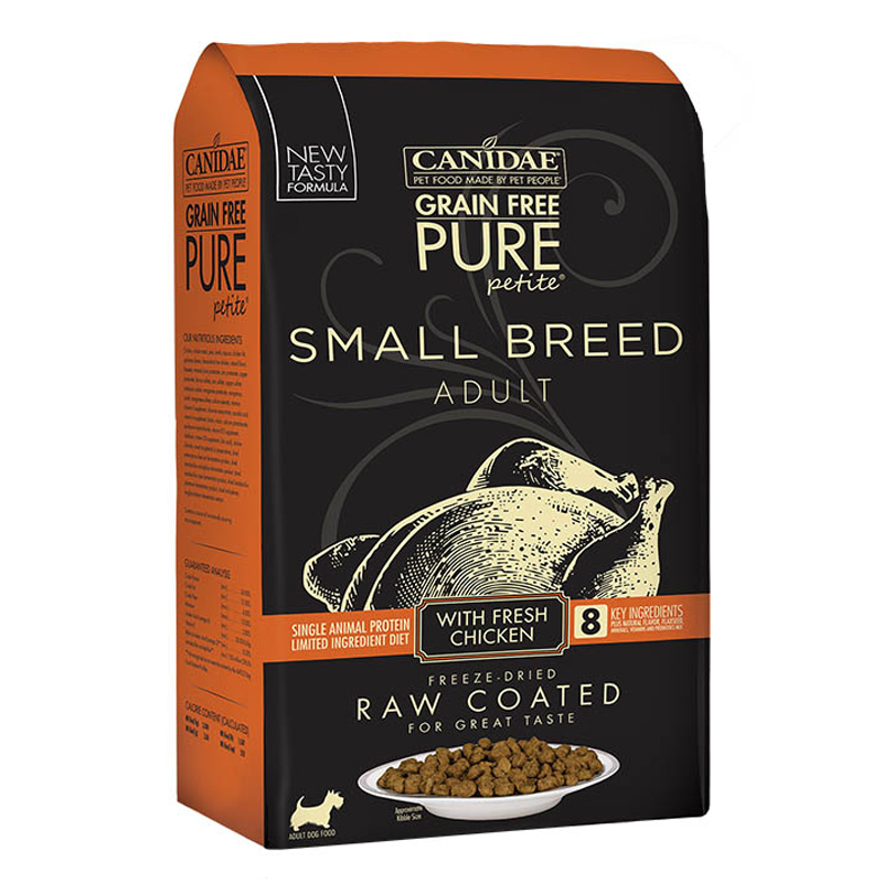 CANIDAE Grain Free PURE Petite Small Breed Raw Coated Dry Formula with Chicken I017493