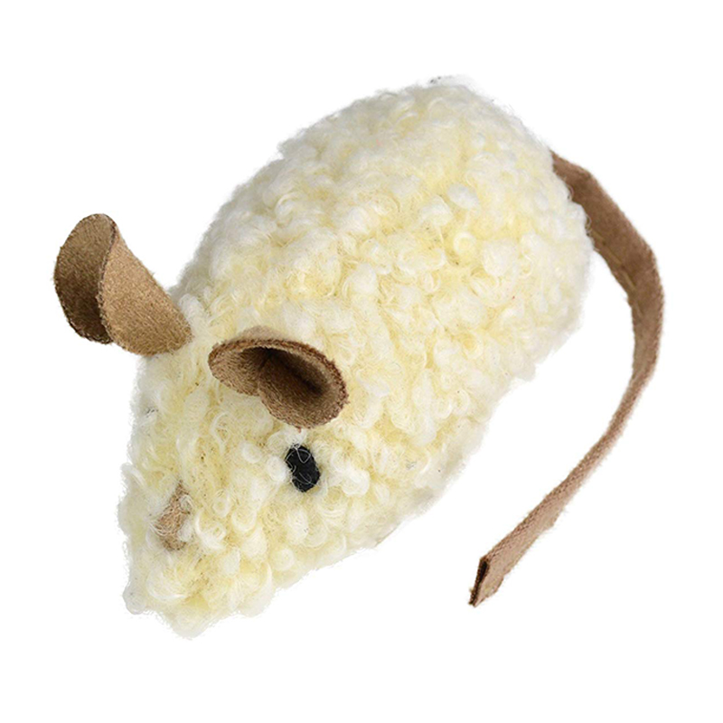 OurPets Snag-ables Curlicue Mouse White Cat Toy  I017833