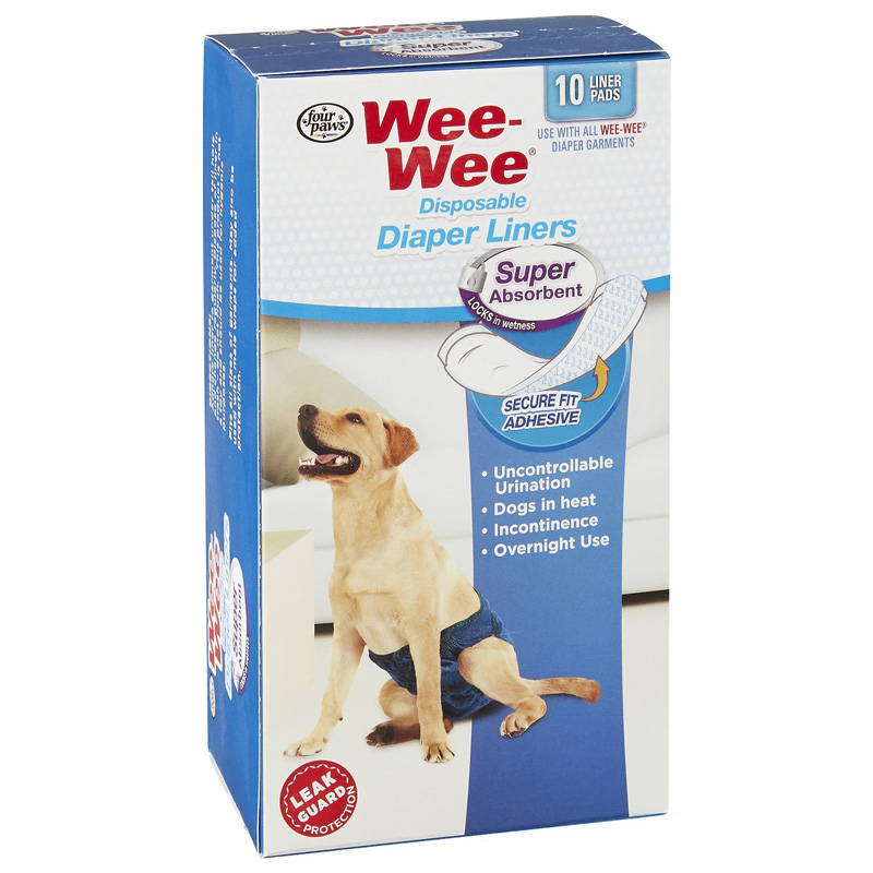 Four Paws Wee-Wee Super Absorbent Disposable Diaper Liner 10 pk  I017892