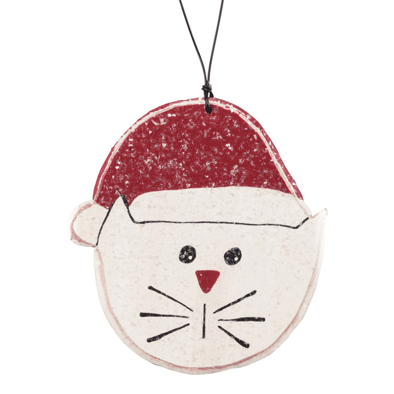 Cat in Santa's Hat Wooden Christmas Ornament I017949