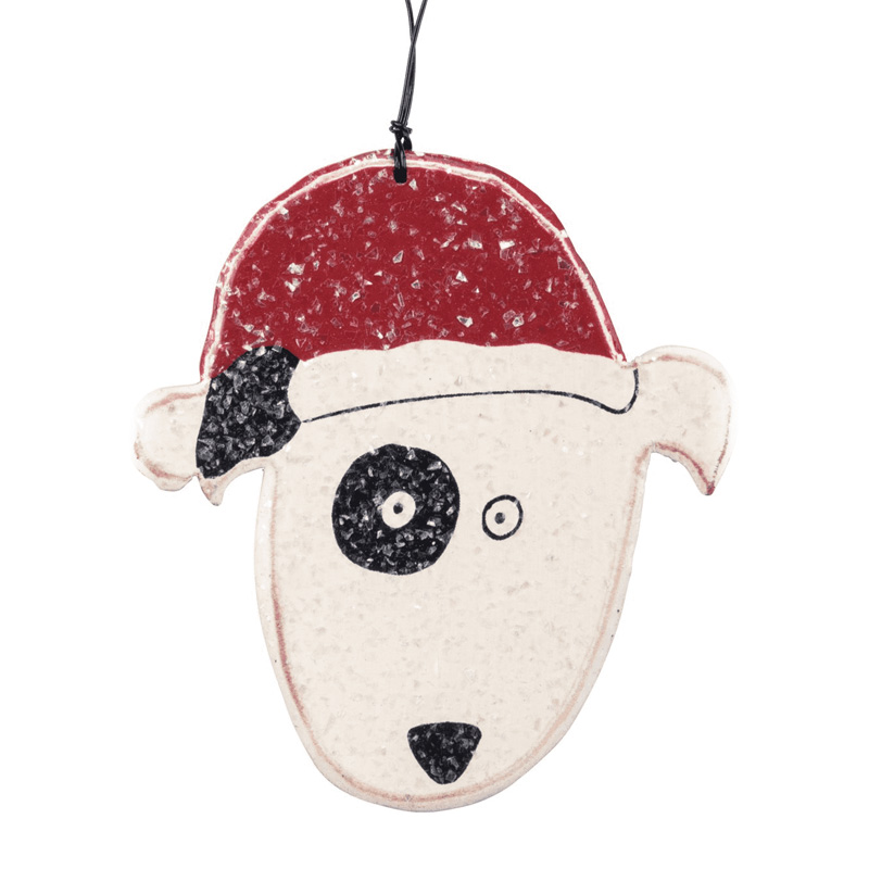 Dog in Santa's hat Wooden Christmas Ornament I017950