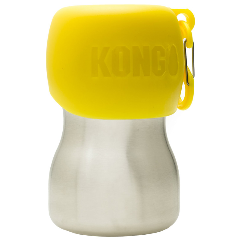 KONG H20 Stainless Steel Dog Water Bottle Yellow 9.5 oz. I018194