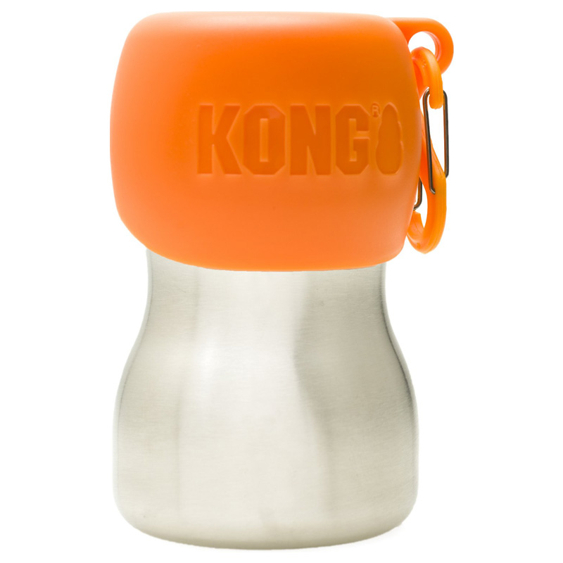 KONG H20 Stainless Steel Dog Wate Bottle Orange 9.5 oz. I018195