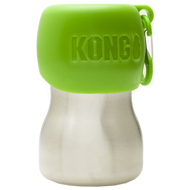 KONG H2O Stainless Steel Dog Water Bottle Green 9.5 oz. I018196