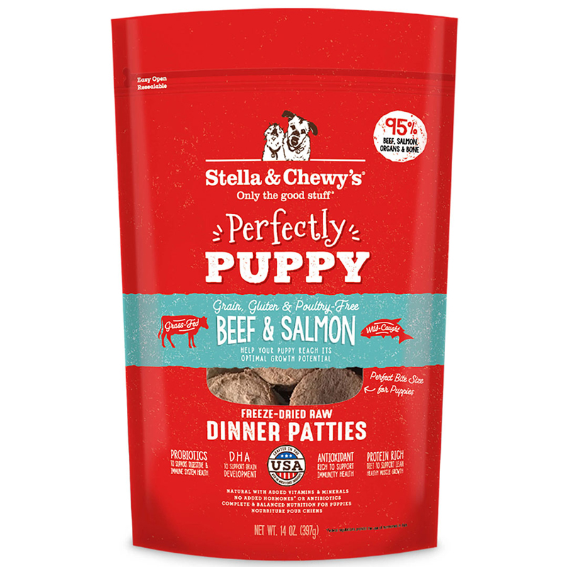 Stella & Chewy's Perfectly Puppy Beef & Salmon Freeze Dried Raw Dinner Patties 14 oz.  I018215