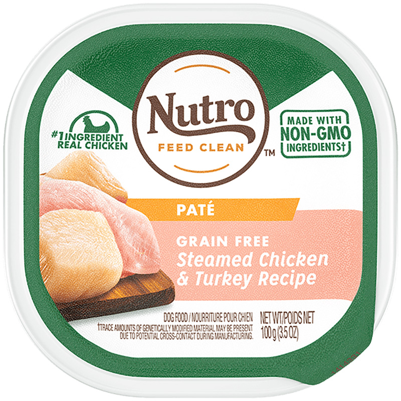 Nutro Grain Free Steamed Chicken & Turkey Recipe Pate Adult Dog Food 3.5oz I018408