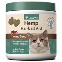 NaturVet Hemp Hairball Aid Soft Chews for Cats 60 ct I018473