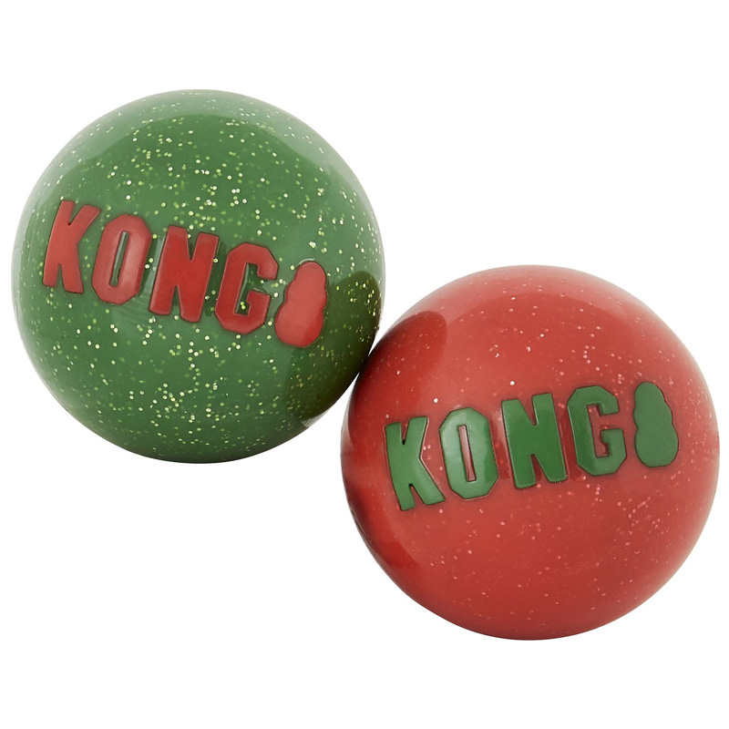 KONG Holiday Signature Balls Dog Toy 2pk I018542