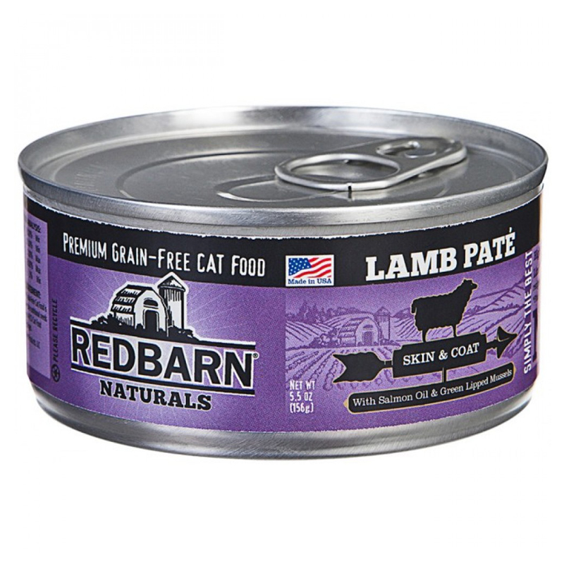 Redbarn Naturals Grain-Free Cat Food Lamb Pate for Skin & Coat 5.5 oz. I018734