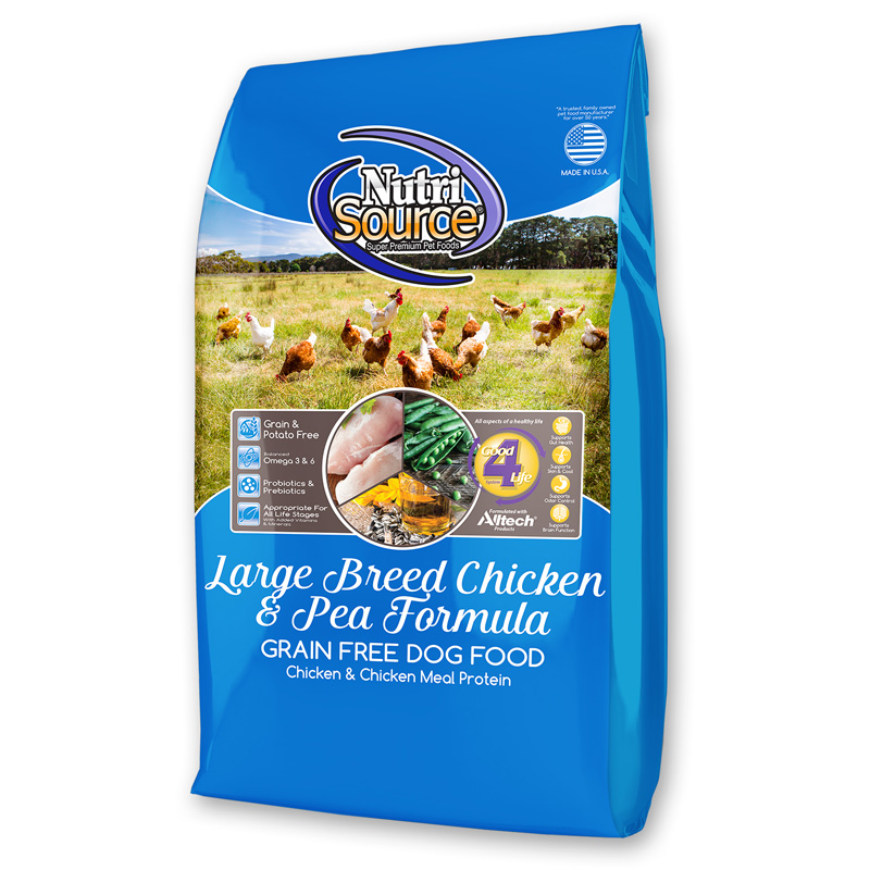 NutriSource Large Breed Chicken & Pea Formula Grain Free Dog Food 30 lbs I018778