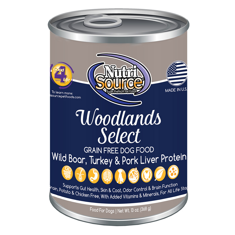 NutriSource Woodlands Select Grain Free Dog Food 13 oz  I018800