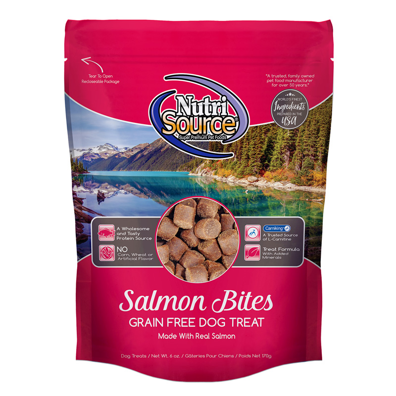NutriSource Salmon Bites Grain Free Dog Treats 6 oz I018821