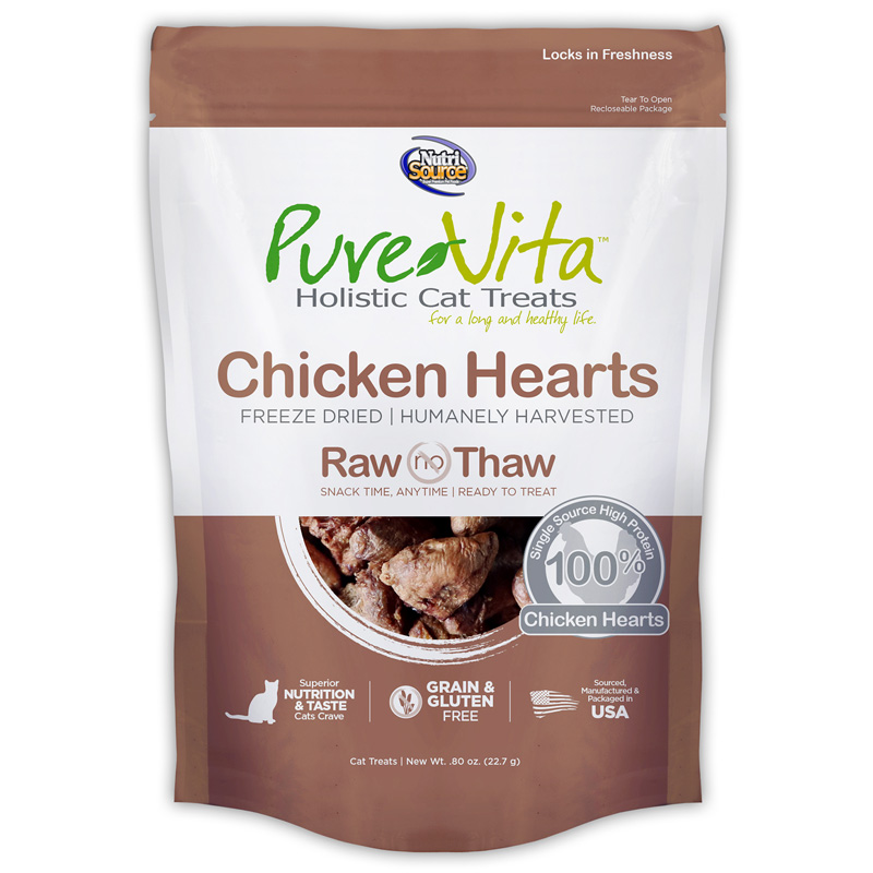PureVita Freeze Dried Chicken Hearts Cat Treats 0.8 oz I018862
