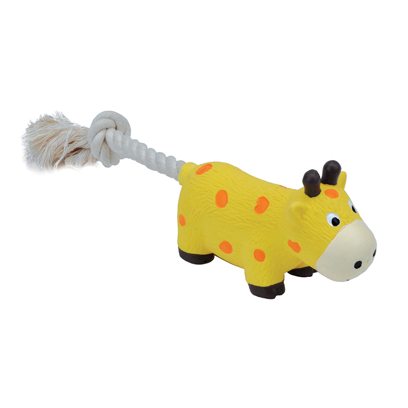 Coastal Li'l Pals Latex & Rope Giraffe Dog Toy 8 in I019088