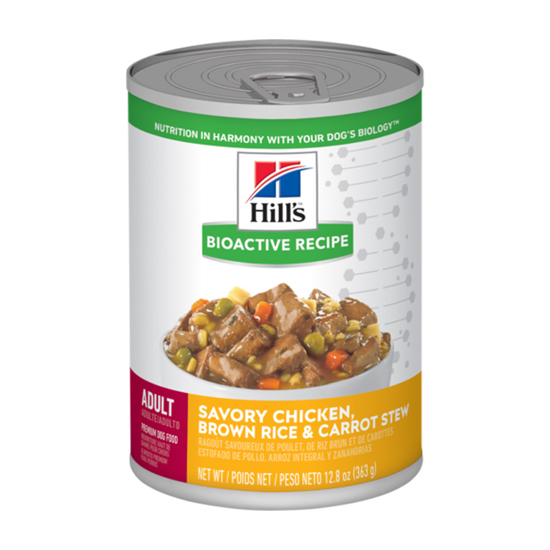 Hill's Bioactive Recipe Adult Savory Chicken, Brown Rice & Carrot Stew Dog Food 12.8 oz  I019164
