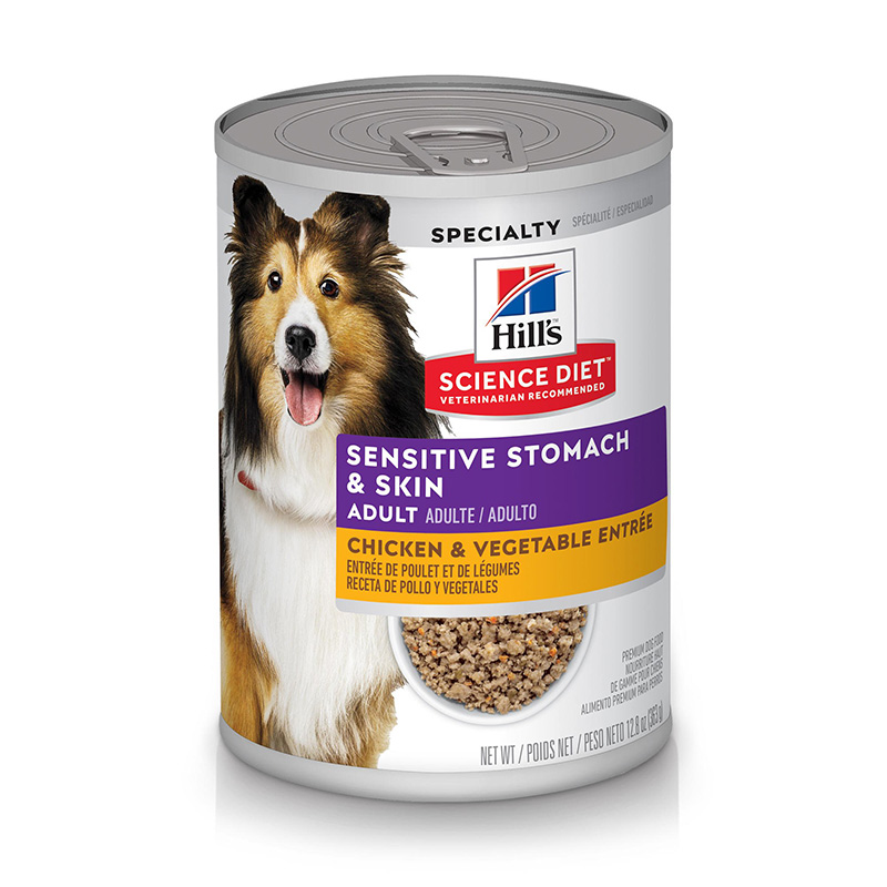 Hill's Science Diet Adult Sensitive Stomach & Skin Chicken & Vegetable Entrée Dog Food 12.8 oz I019168