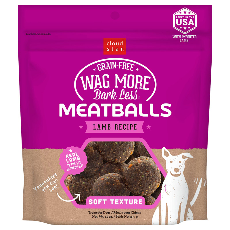 Wag More Bark Less Meatballs Lamb Recipe Dog Treats 14 oz  I019189