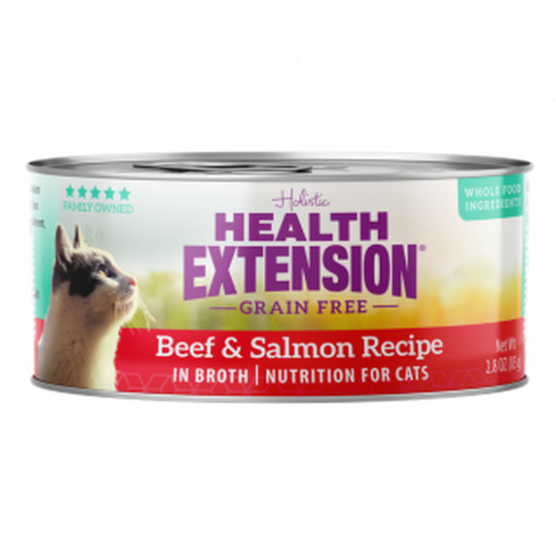 Health Extension Grain Free Beef and Salmon Recipe Cat Food 2.8 oz I019202