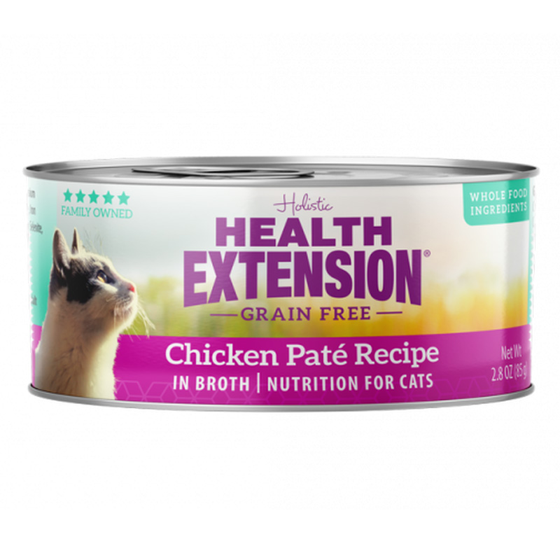 Health Extension Grain Free Chicken Pate Recipe Cat Food 2.8 oz I019207