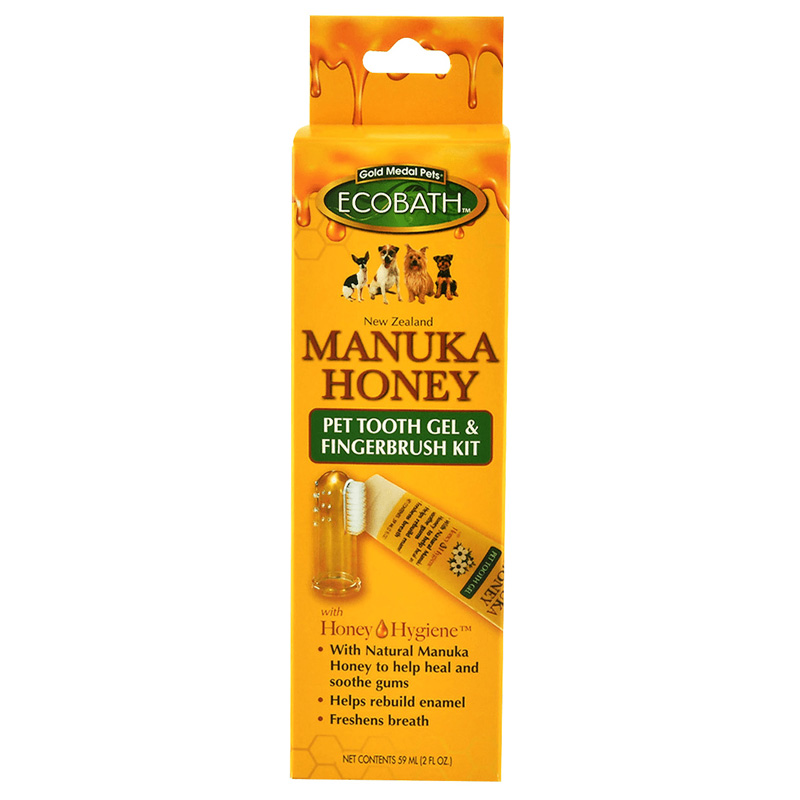EcoBath Manuka Honey Pet Tooth Gel & Fingerbrush Kit I019242