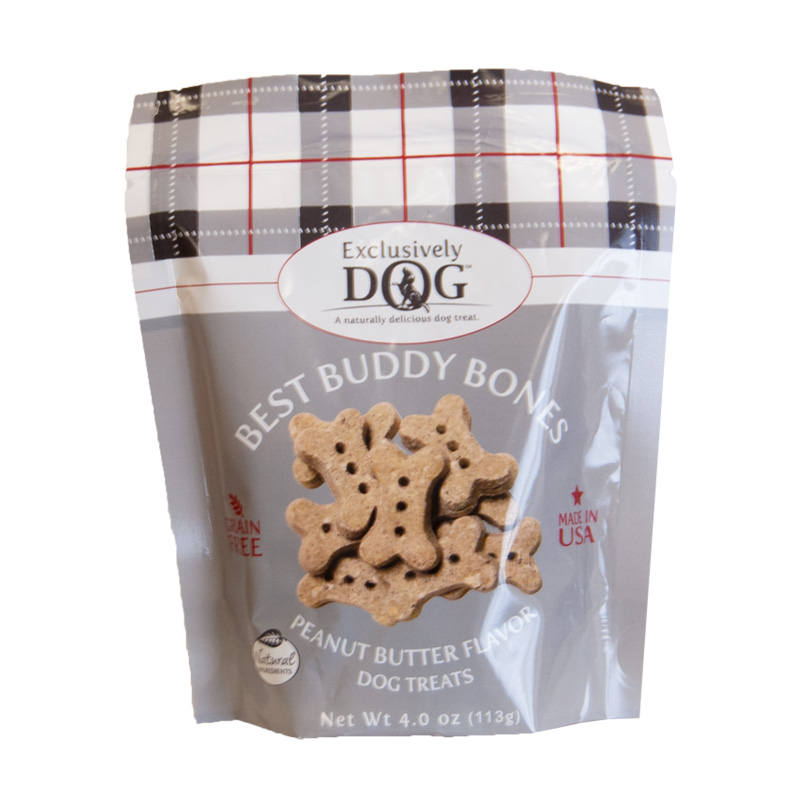 Exclusively Dog Best Buddy Bones Peanut Butter Flavor Grain Free Dog Treats 4 oz  I019243