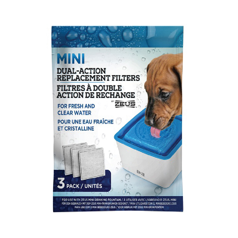 Zeus Mini Drinking Fountain Dual-Action Replacement Filters 3 Pack I019276