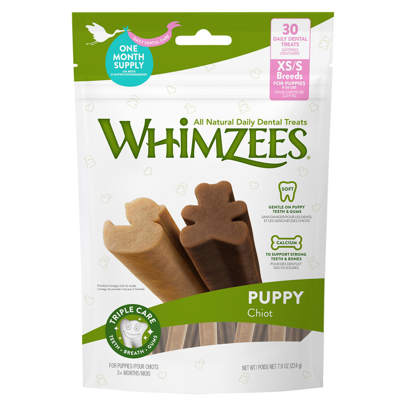 Whimzies Dental Treats for Extra Small to Small Breed Puppies 3+ months 30 ct  I019288