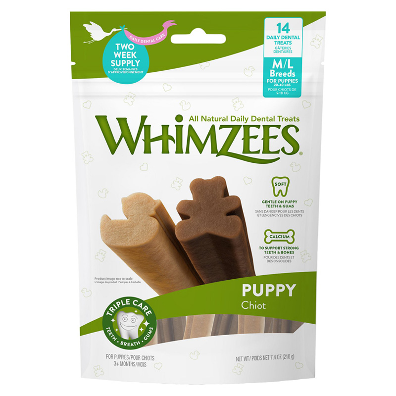 Whimzies Dental Treats for Medium to Large Breed Puppies 3+ months 14 ct I019289