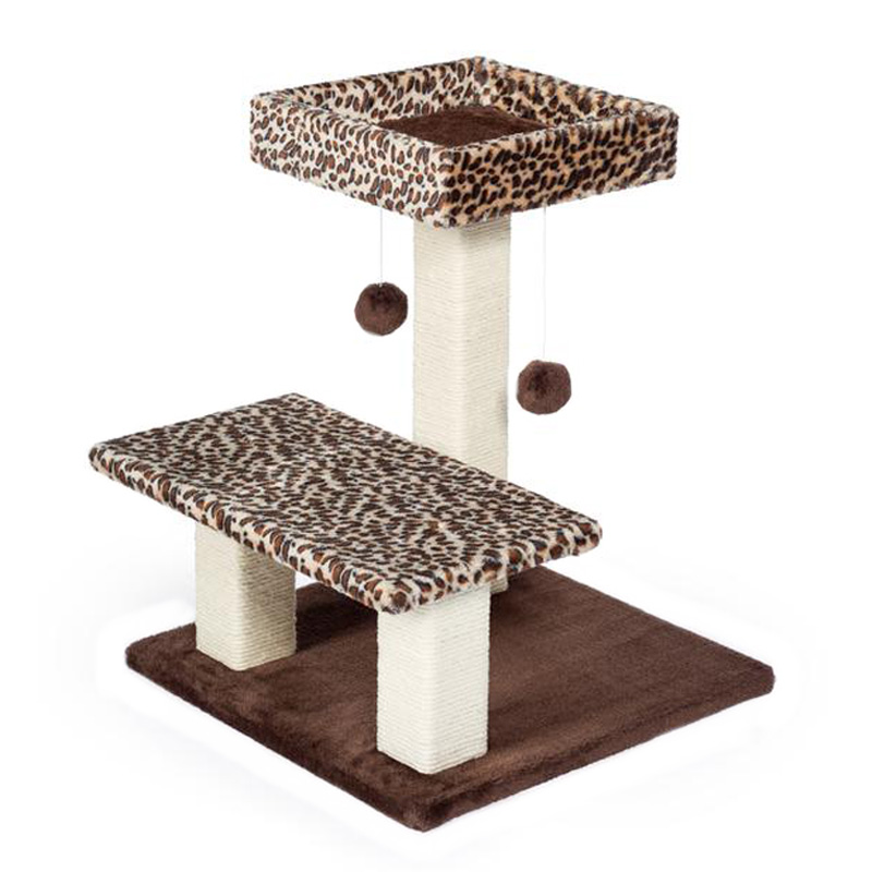Prevue Pet Products Kitty Power Paws Leopard Terrace Cat Tower 20 1/2 in x 17 1/2 in x 21 in I019425