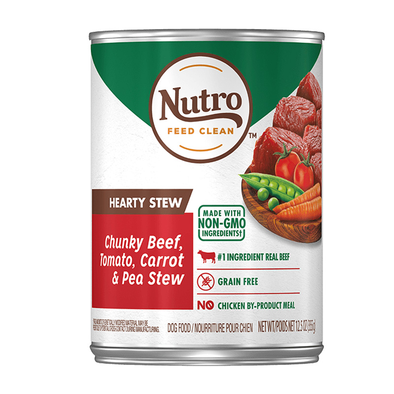 Nutro Hearty Stew Chunky Beef, Tomato, Carrot & Pea Stew Dog Food 12.5 oz  I019509