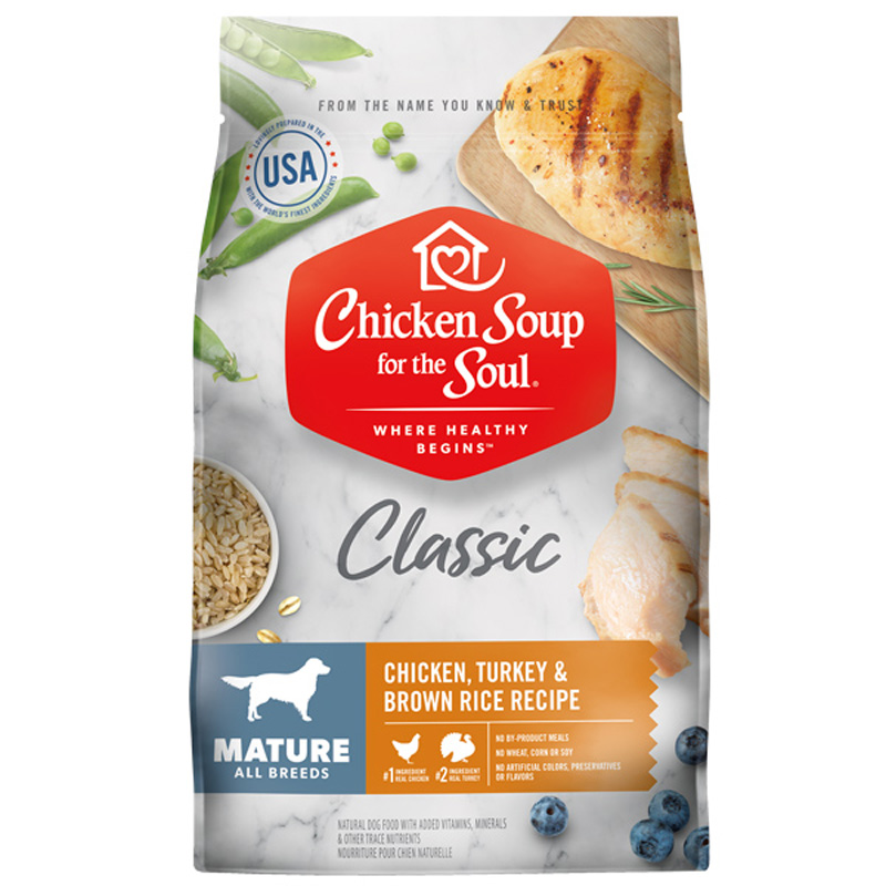 Chicken Soup for the Soul Classic Mature Chicken, Turkey & Brown Rice Recipe Dog Food  I019609b