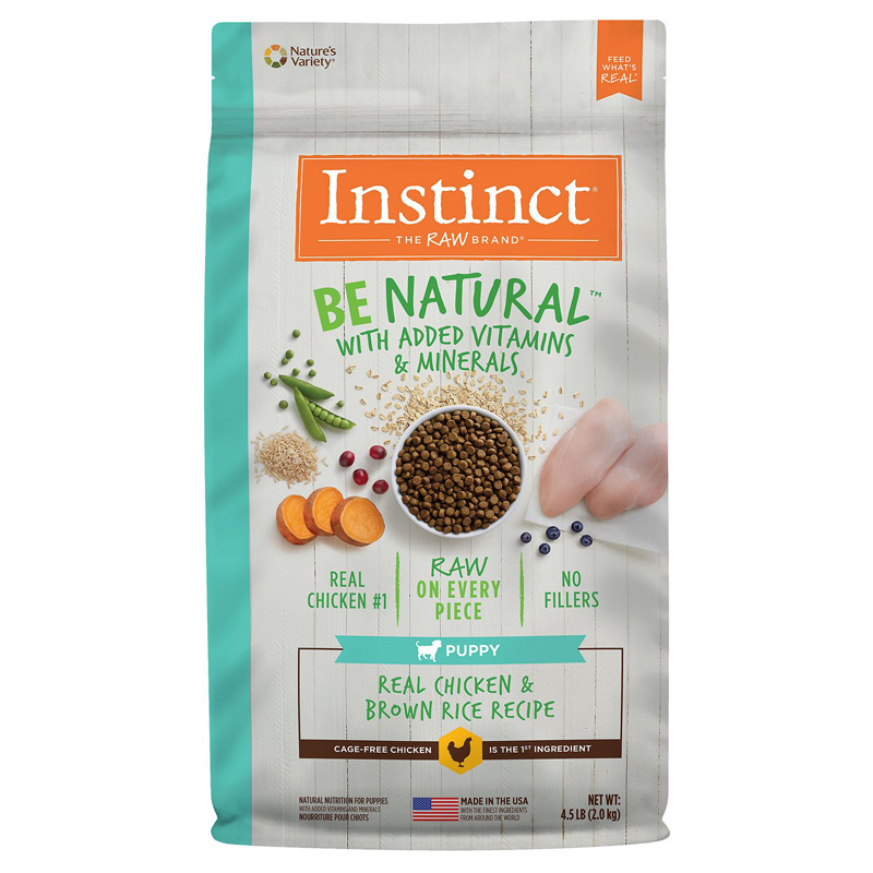 Instinct Be Natural Real Chicken & Brown Rice Recipe for Puppies Dog Food  I019685