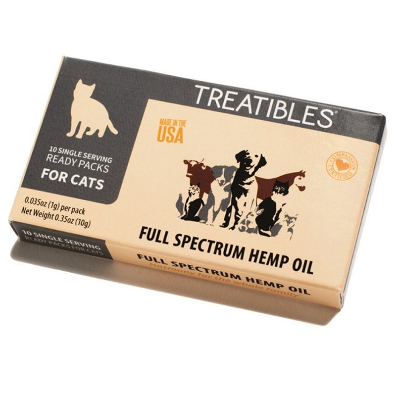 Treatibles Organic Full Spectrum Hemp Oil Ready Pack for Cats 2mg 10 pack I020012