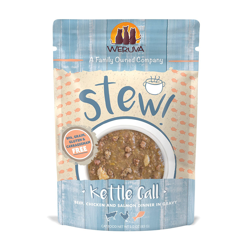 WERUVA Kettle Call Beef, Chicken & Salmon Dinner in Gravy Cat Food 3 oz  I020027