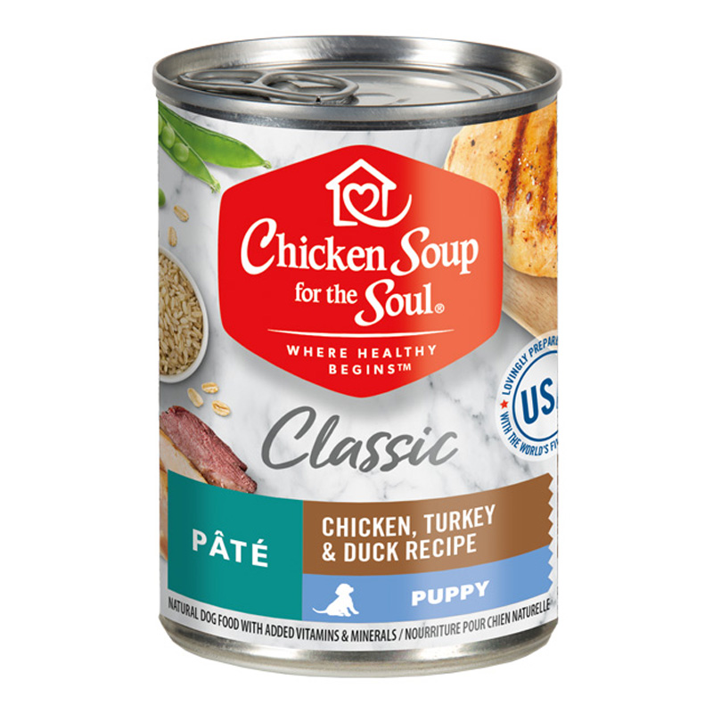 Chicken Soup for the Soul Puppy Classic Pate Chicken, Turkey & Duck Recipe Canned Dog Food  13 oz.