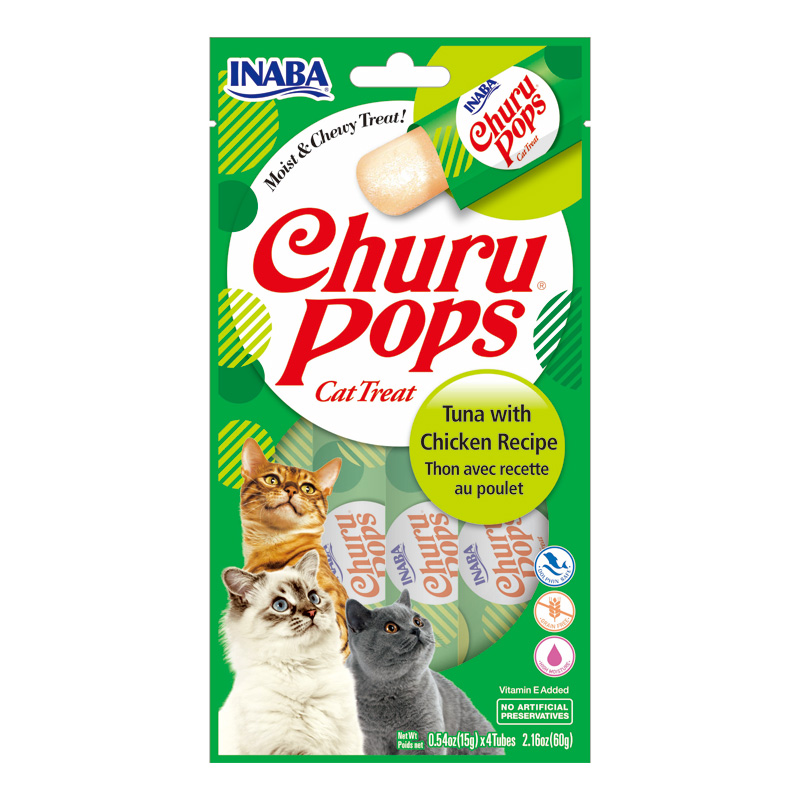 Inaba Churu Pops Cat Treat Tuna with Chicken Recipe 4 Pack I020234