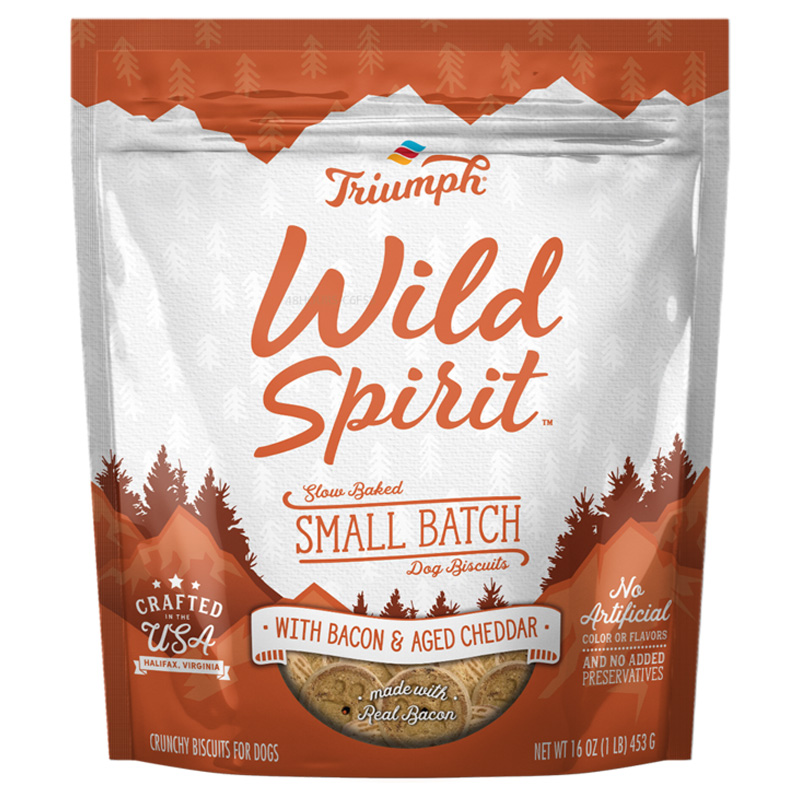 Triumph Wild Spirit Small Batch Dog Biscuits with Bacon & Aged Cheddar 16 oz. I020745