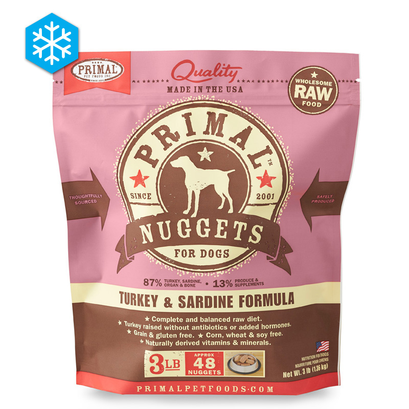 Primal Wholesome Raw Nuggets for Dogs Turkey & Sardine Formula 3 lb. 922512