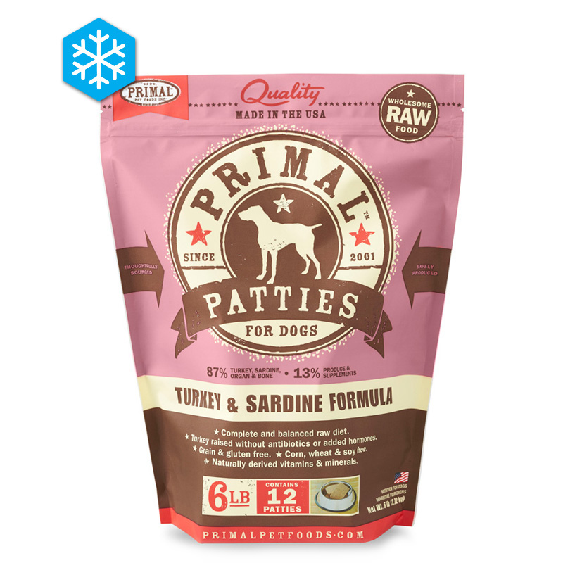 Primal Wholesome Raw Patties for Dogs Turkey & Sardine Formula 6 lb. 922519