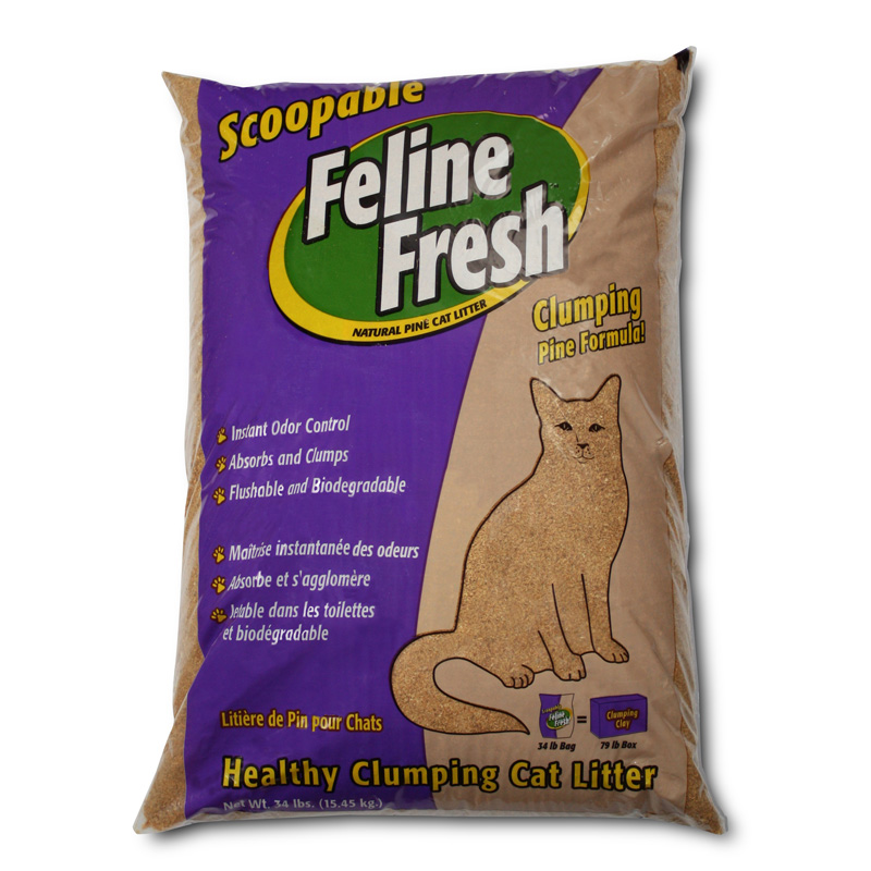 Feline Fresh Scoopable Instant Odor Control Clumping Pine Cat Litter 34 lbs. I005312