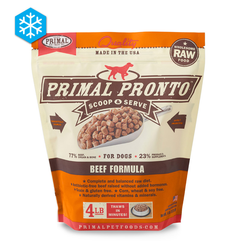Primal Pronto Scoop & Serve Wholesome Raw Beef Formula for Dogs 4 lb. I005429