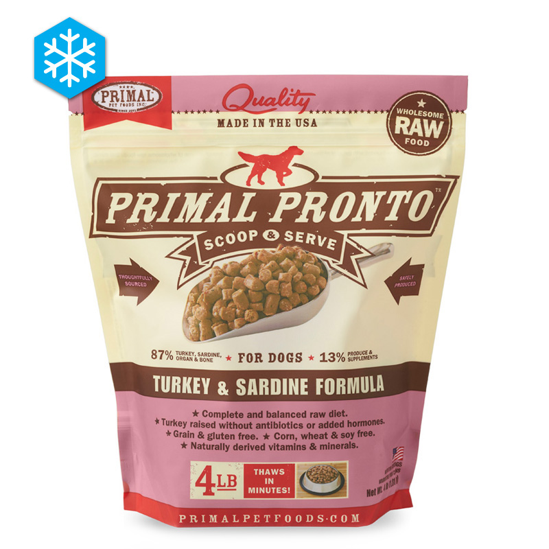 Primal Pronto Scoop & Serve Wholesome Raw Turkey & Sardine Formula for Dogs 4 lb. I005433
