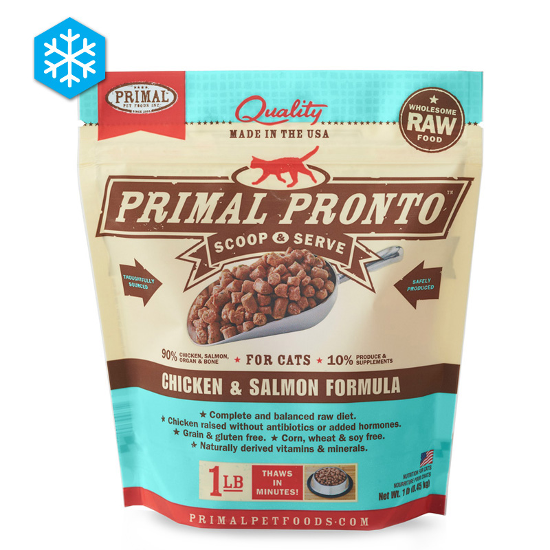 Primal Pronto Scoop & Serve Wholesome Raw Chicken & Salmon Formula for Cats 1 lb. I005434