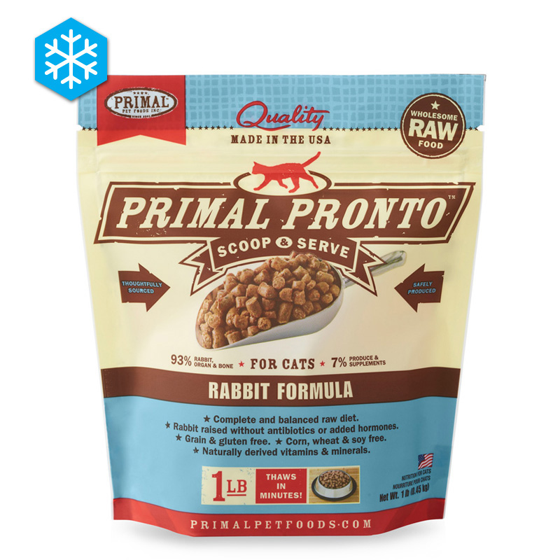 Primal Pronto Scoop & Serve Wholesome Raw Rabbit Formula for Cats 1 lb. I005435
